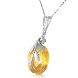 NECKLACE WITH CHECKERBOARD CUT CITRINE & DIAMOND